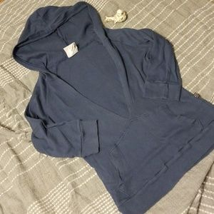 Outlaw dusty navy v neck hoodie